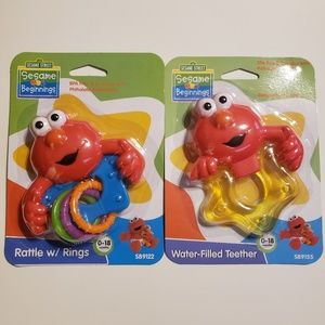 NWT Set of Sesame Street Elmo Teether and Rattle